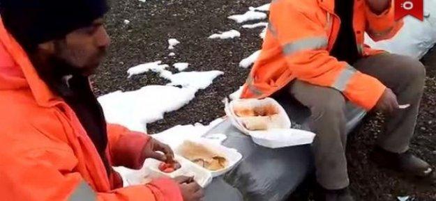 Yemekhane kirlenmesin diye, işçiye dondurucu soğukta yemek zulmü