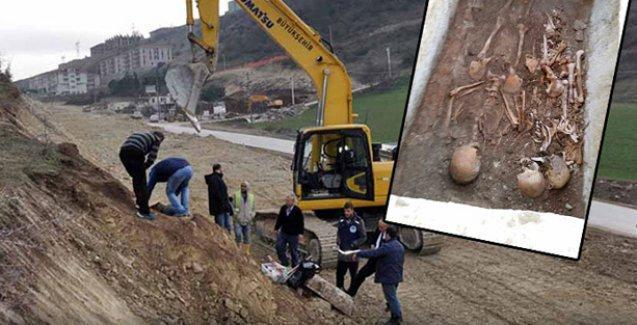Yol çalışmasında kepçe 'halk mezarı'na çarptı