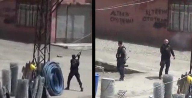 Yüksekova'da OHAL manzaraları: Gelişigüzel ortalığı tarayan polis, bir şarjör boşaltıyor!