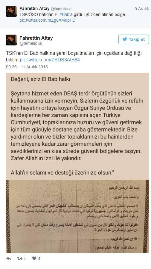 TSK jetlerinden El Baba besmeleli bildiri: Zafer Allahın izniyle yakındır